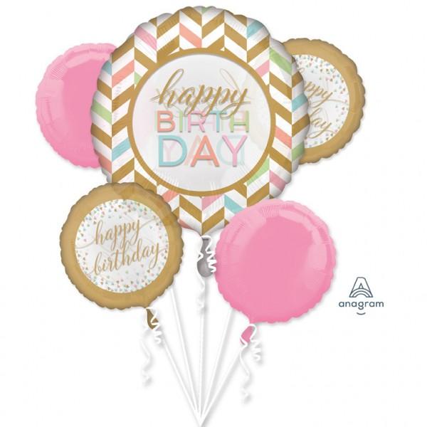 Anagram Folienballon Bouquet Happy Birthday Pastel Confetti
