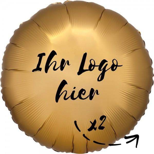 """Folien-Werbeballon Rund Satin Luxe Gold 45cm/18"""" 2-Seitig bedruckt"""