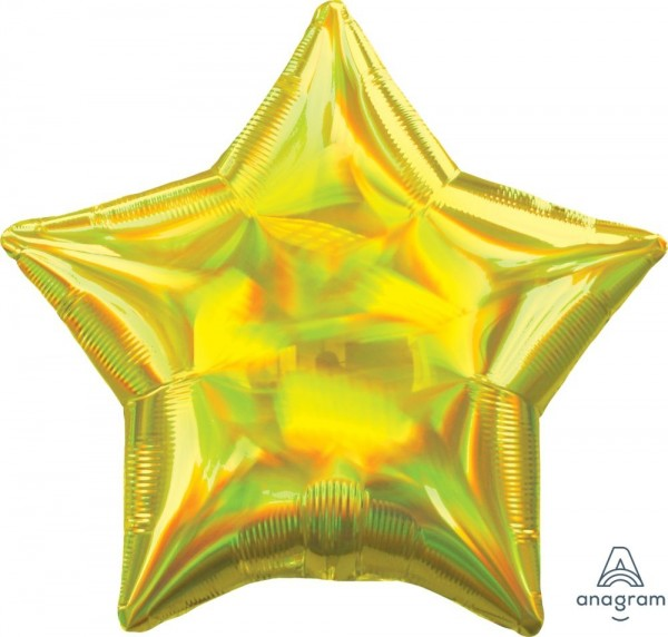 "Anagram Folienballon Stern Iridescent Yellow Holo 45cm/18"""