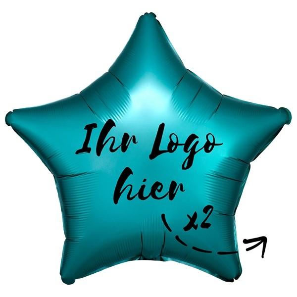 "Folien-Werbeballon Stern Satin Luxe Jade 50cm/20"" 2-Seitig bedruckt"