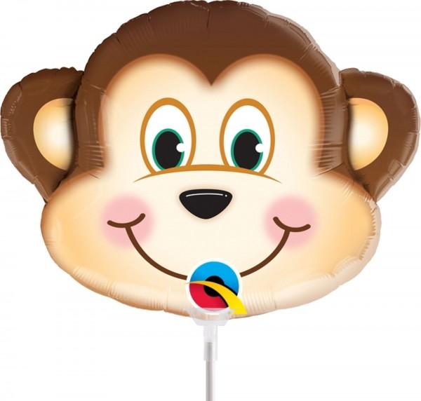 "Qualatex Folienballon Mischievous Monkey 36cm/14"" luftgefüllt inkl. Stab"