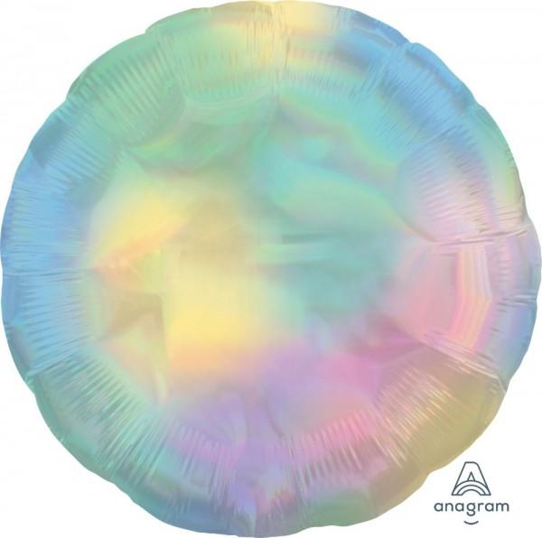 "Anagram Folienballon Rund Iridescent Pastel Rainbow Holo 45cm/18"""