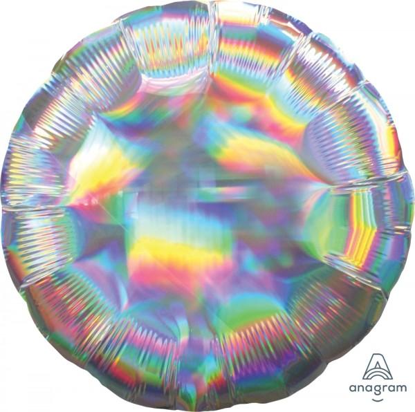 Anagram Folienballon Rund 45cm Durchmesser Iridescent Silber (Silver) Holo
