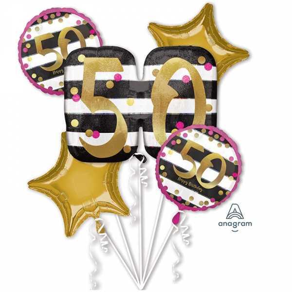 "Anagram Folienballon Bouquet ""Pink & Gold Meilenstein 50"""
