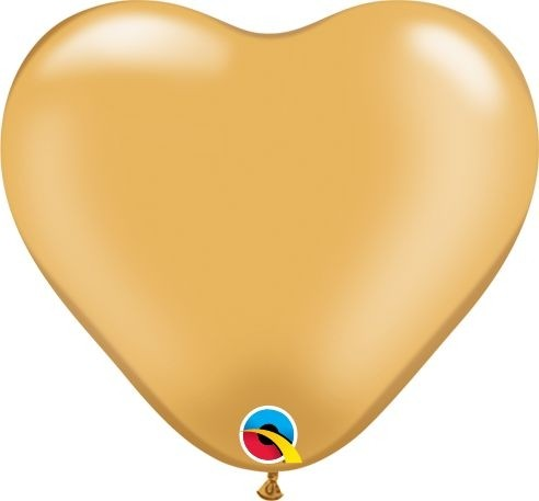 """Qualatex Latexballon Metallic Gold Heart 15cm/6"""" 100 Stück"""