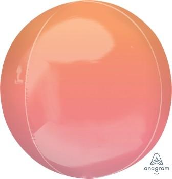 Anagram Folienballon Orbz 40cm Durchmesser Ombré Rot & Orange (Red & Orange)