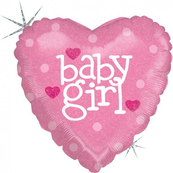 "Betallic Folienballon Baby Heart Girl Holographic 23cm/9"""