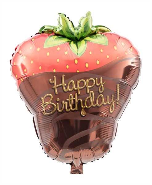 """Kaleidoscope Folienballon """"Happy Birthday - Erdbeere"""", 18"""""""