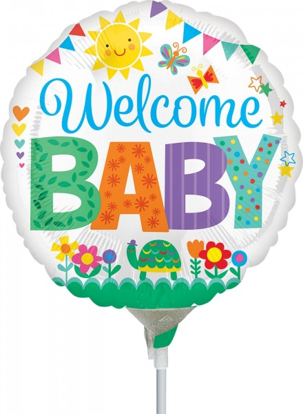 "Anagram Folienballon Welcome Baby Cute Icons 23cm/9"" luftgefüllt inkl. Stab"