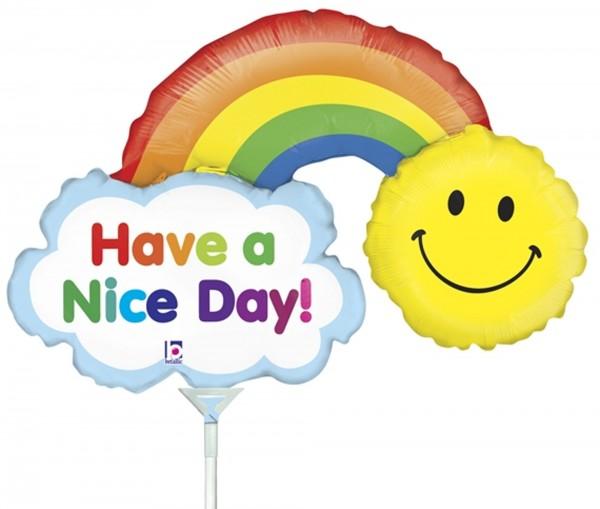 "Betallic Folienballon Mini Have a Nice Day Rainbow 35cm/14"" luftgefüllt inkl. Stab"