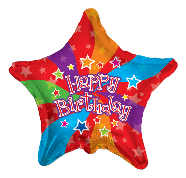 "Kaleidoscope Folienballon Stern ""Happy Birthday"", 18"""