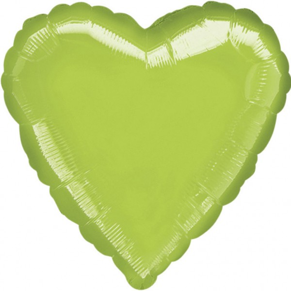 "Anagram Folienballon Herz Metallic Lime Green 45cm/18"""