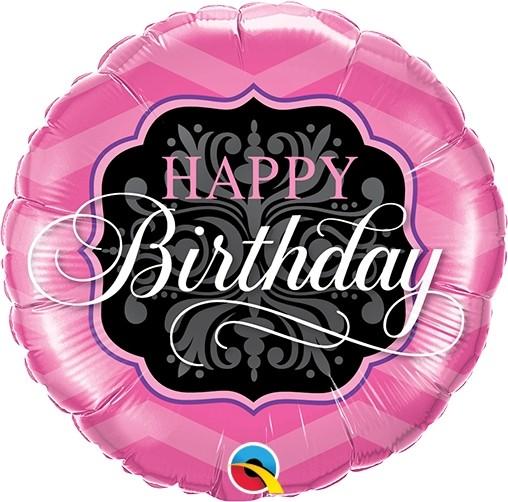 "Qualatex Folienballon Birthday Pink & Black 23cm/9"""