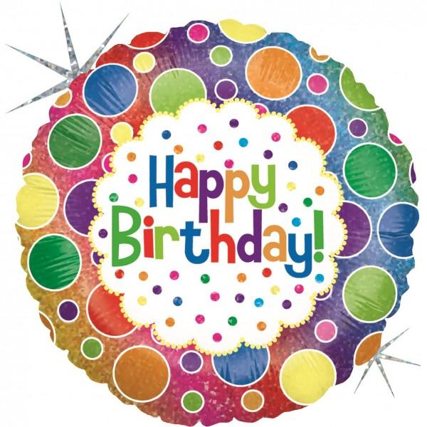 "Betallic Folienballon Rainbow Dots Birthday Holographic 23cm/9"""