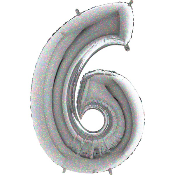 "Grabo Folienballon Zahl 6 Holographic 100cm/40"""