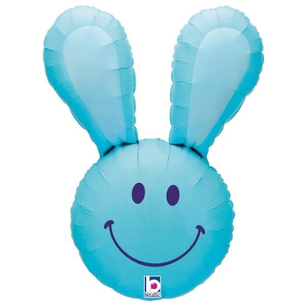 """Betallic Folienballon Smiley Bunny Blue 94cm/37"""""""