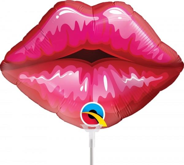 """Qualatex Folienballon Red Kissey Lips 36cm/14"""" luftgefüllt inkl. Stab"""