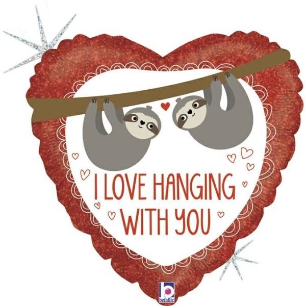 "Betallic Folienballon 46cm/18"" Love Hanging Sloth"
