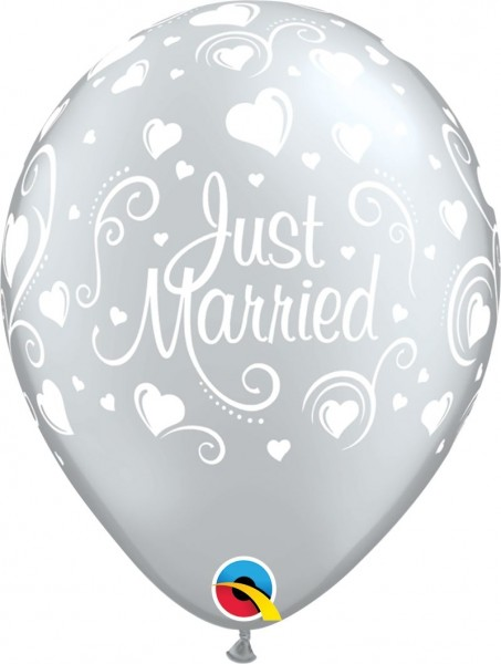 "Qualatex Latexballon Just Married Hearts Silber 28cm/11"" 25 Stück"