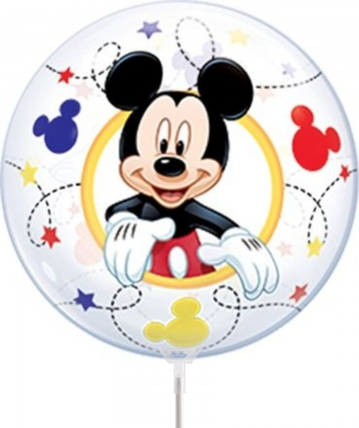 "Qualatex Air Bubbles Mickey Mouse 30cm/12"" luftgefüllt inkl. Stab"