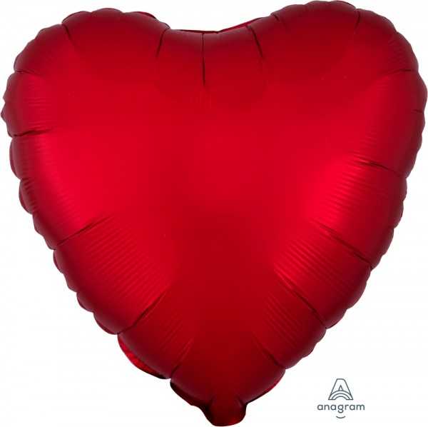 Anagram Folienballon Herz 45cm Durchmesser Satin Rot (Sangria)