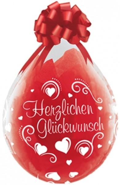 "Qualatex Verpackungsballon Herzlichen Glückwunsch Hearts Diamond Clear 45cm/18"" 25 Stück"