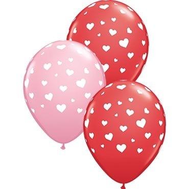 "Qualatex Latexballon Random Hearts-A-Round Red & Pink Assorted 28cm/11"" 25 Stück"