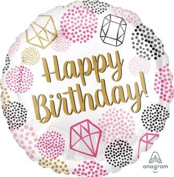 """Anagram Folienballon Rund 43cm Durchmesser """"Happy Birthday"""" Diamanten (Gems)"""