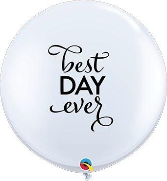 Qualatex Latexballon Simply Best Day Ever White 90cm/3' 2 Stück