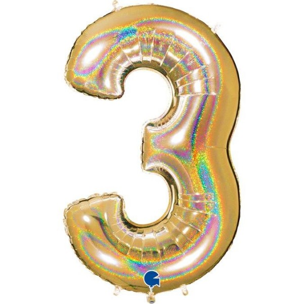 "Grabo Folienballon Zahl 3 Glitter Holographic Gold 100cm/40"""