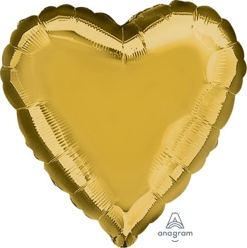Anagram Folienballon Herz 45cm Durchmesser Metallic Gold