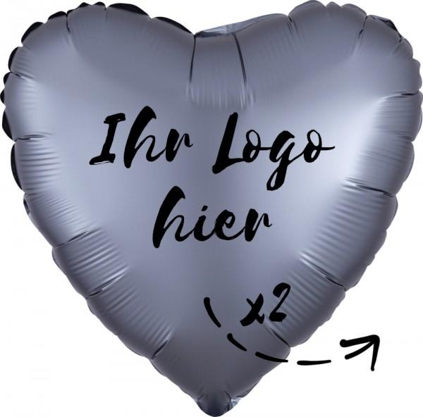 """Folien-Werbeballon Herz Satin Luxe Graphite 45cm/18"""" 2-Seitig bedruckt"""