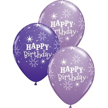 "Qualatex Latexballon Birthday Sparkle Assorted Purple Violet & Spring Lilac 28cm/11"" 25 Stück"