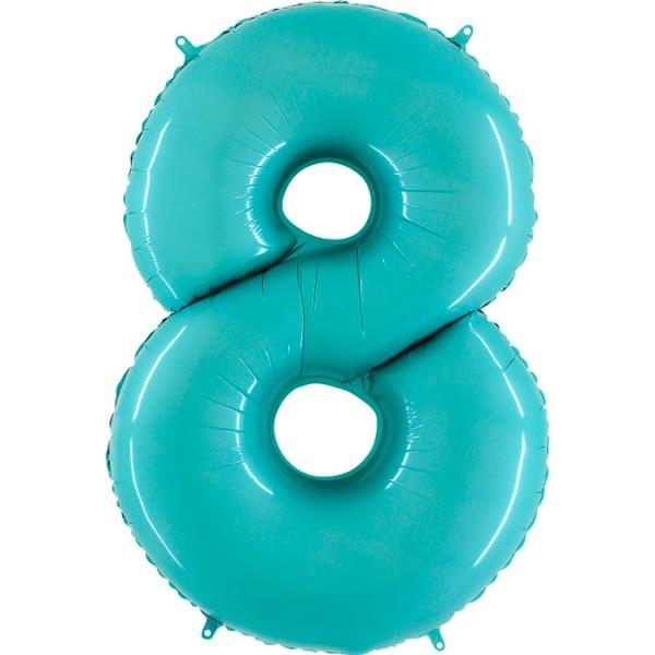 "Grabo Folienballon Zahl 8 Pastel Blue 100cm/40"""