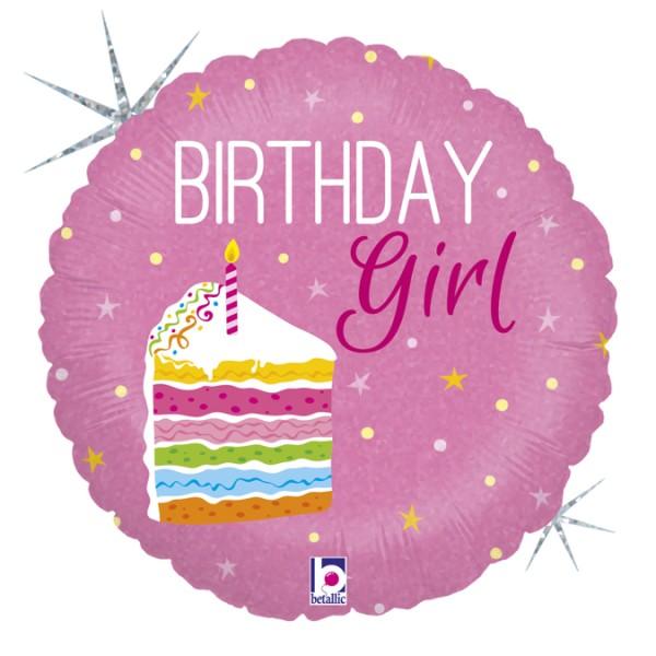 "Betallic Folienballon Birthday Girl Holo 46cm/18"""