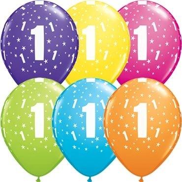 "Qualatex Latexballon Stars 1-A-Round Tropical Assortment 28cm/11"" 50 Stück"