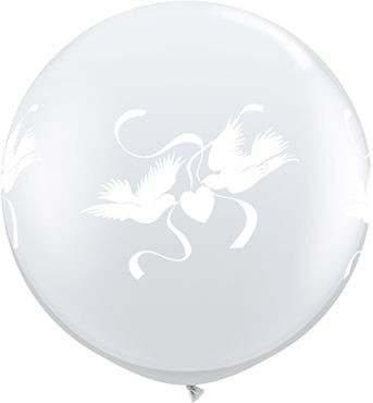 Qualatex Latexballon Love Doves Diamond Clear 90cm/3' 2 Stück