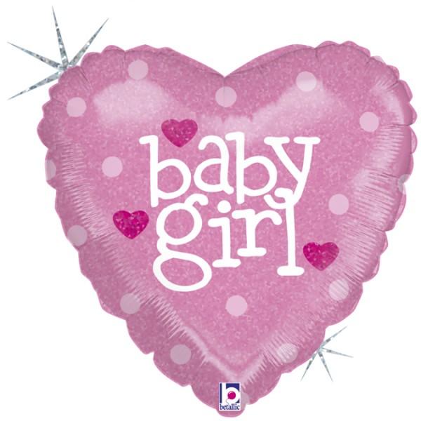 """Betallic Folienballon Baby Girl Holo 45cm/18"""""""