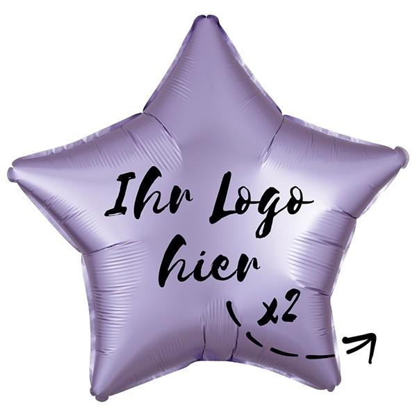 "Folien-Werbeballon Stern Satin Luxe Pastel Lilac 50cm/20"" 2-Seitig bedruckt"