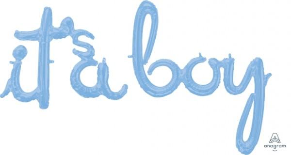 "Anagram Folienballon 68cm Breit/50cm (27""/20"") & 73cm Breit/80cm Hoch (29""/32"") SuperShape it`sa boy Schrift Girlande Hellblau (Pastel Blue)"