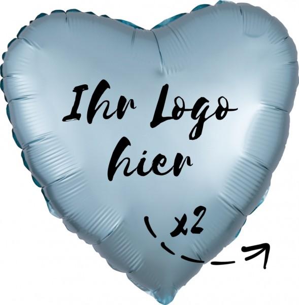 "Folien-Werbeballon Herz Satin Luxe Pastel Blue 45cm/18"" 2-Seitig bedruckt"