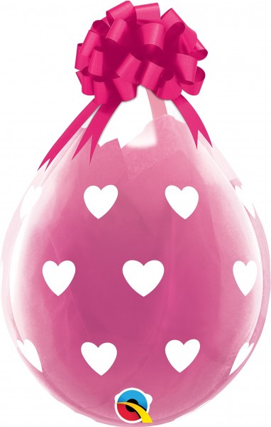 "Qualatex Verpackungsballon Big Hearts Diamond Clear 45cm/18"" 25 Stück"