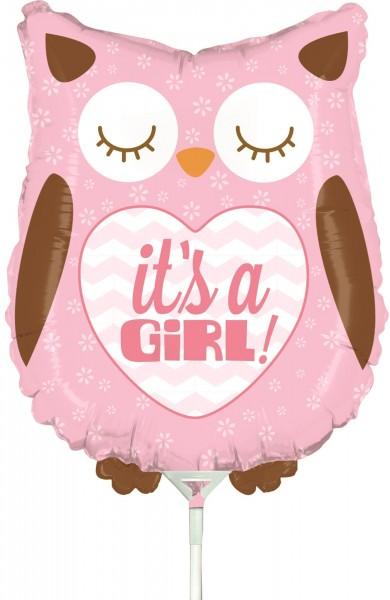 "Betallic Folienballon Baby Girl Owl Mini 35cm/14"" luftgefüllt mit Stab"