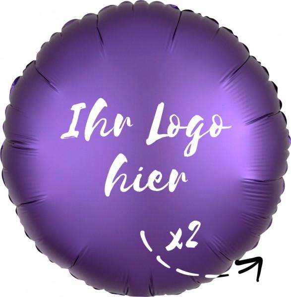 """Folien-Werbeballon Rund Satin Luxe Purple Royale 45cm/18"""" 2-Seitig bedruckt"""