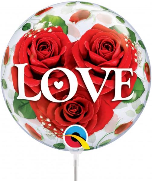 "Qualatex Air Bubbles Love Roses 30cm/12"" luftgefüllt inkl. Stab"