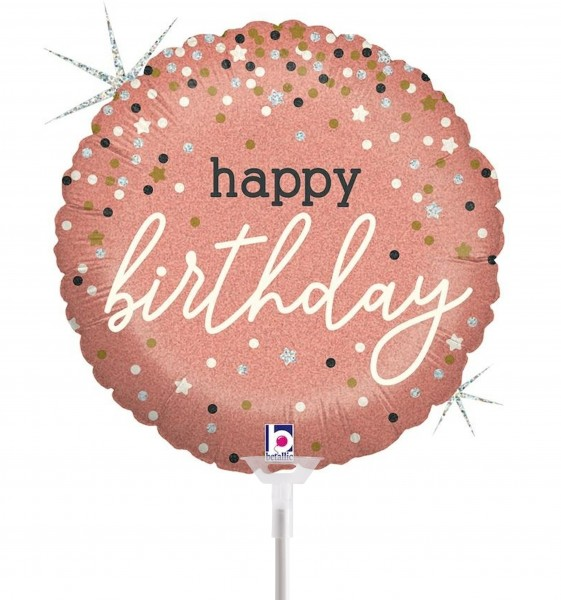 "Betallic Folienballon Rose Gold Confetti B-Days 23cm/9"" luftgefüllt inkl. Stab"