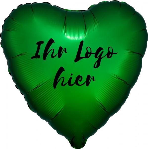 """Folien-Werbeballon Herz Satin Luxe Emerald 45cm/18"""" 1-Seitig bedruckt"""