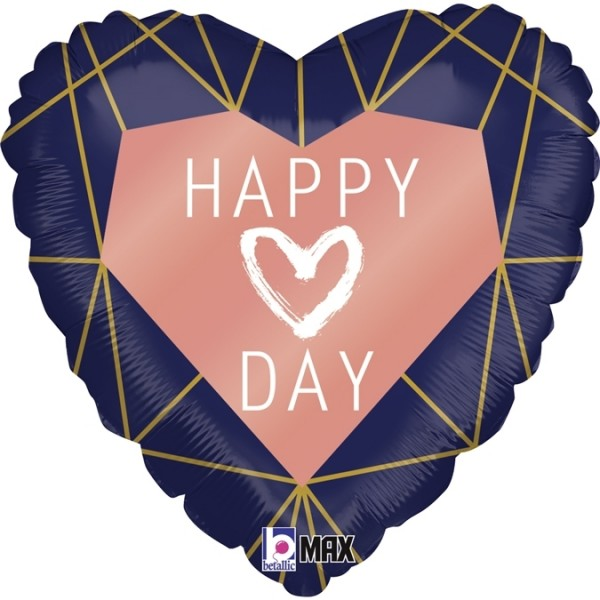 """Grabo Folienballon Happy Day Navy Heart 46cm/18"""""""