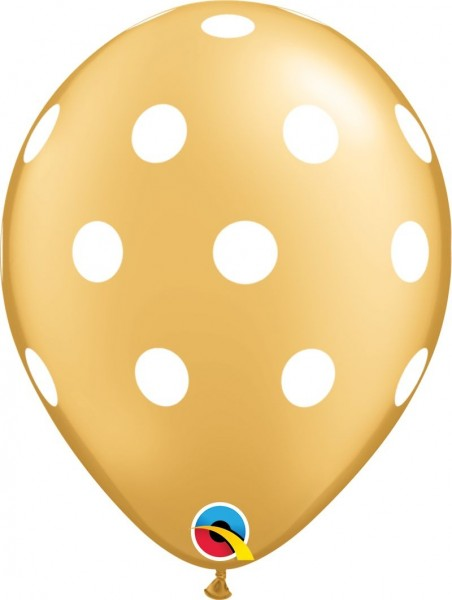 "Qualatex Latexballon Big Polka Dots-Gold 28cm/11"" 25 Stück"
