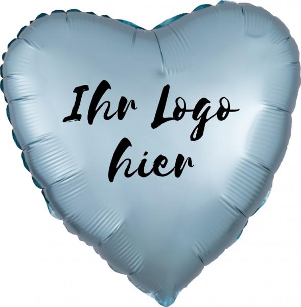 "Folien-Werbeballon Herz Satin Luxe Pastel Blue 45cm/18"" 1-Seitig bedruckt"